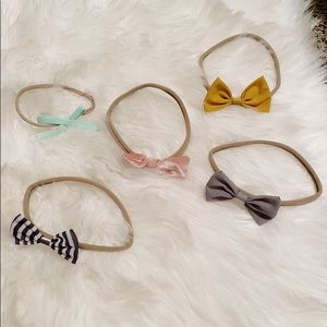 5 Soft Nylon Baby Girl Colorful Bows